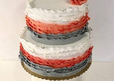 tort weselny szaro pomarańczowy