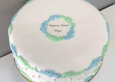 tort na komunię niebiesko zielony