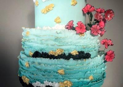 tort weselny blue & pink