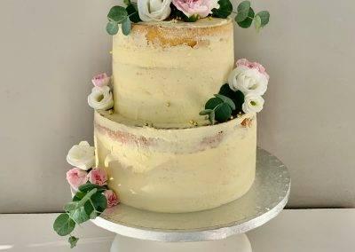 tort naked kwiaty