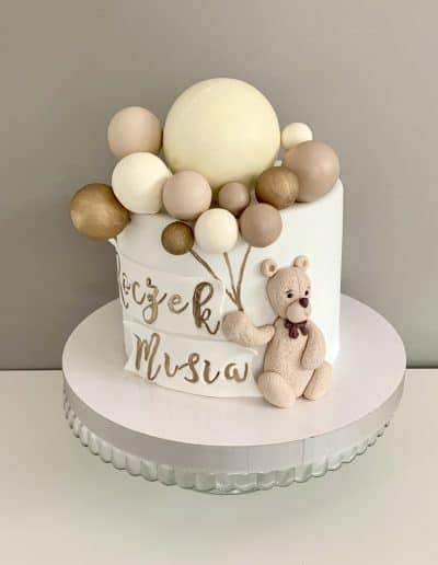 tort na roczek mis i balony