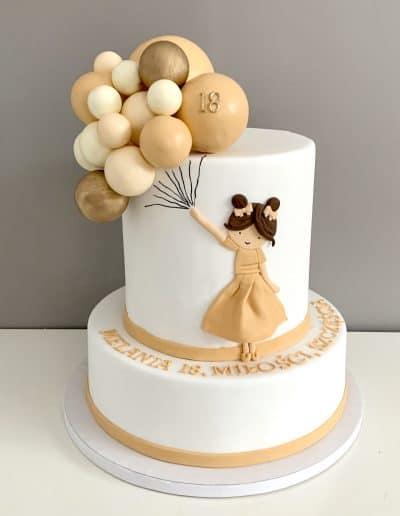 tort na 18 dziewczynka z balonami